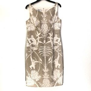 VTG Maggy London Tropical Burlap Sheath Dress